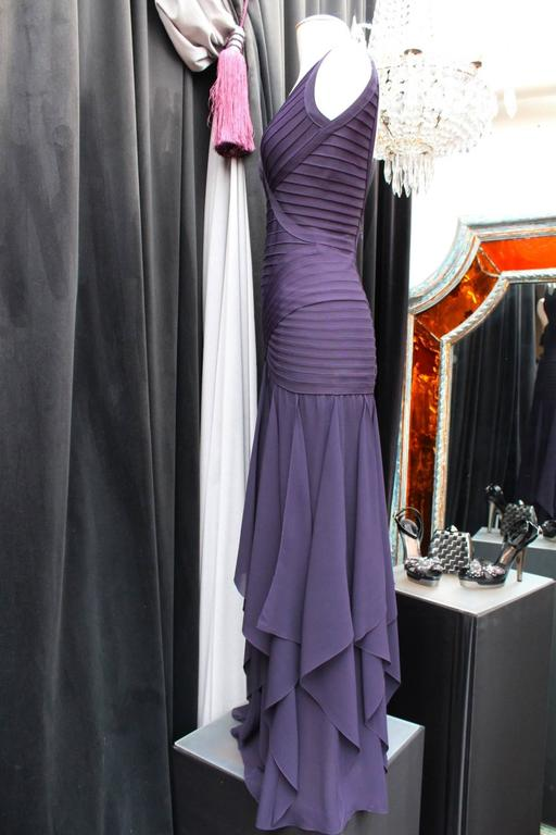1990s Herve Leger Couture Purple Evening Gown 3
