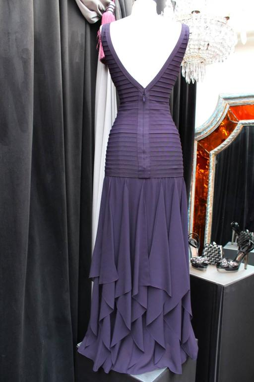 1990s Herve Leger Couture Purple Evening Gown 4