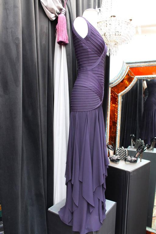 1990s Herve Leger Couture Purple Evening Gown 5