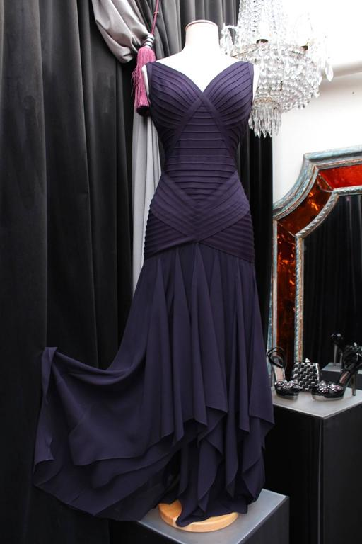1990s Herve Leger Couture Purple Evening Gown 2