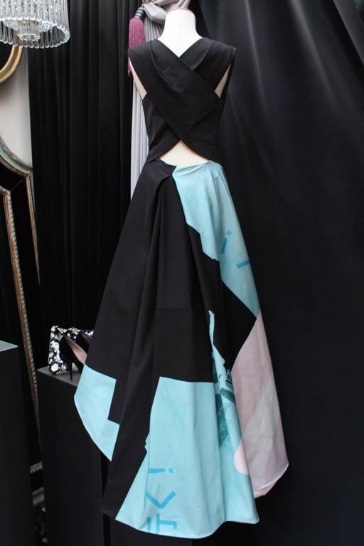 2013 John Galliano Evening Dress in Blue, Pink and Black Cotton by Bill Gaytten 3