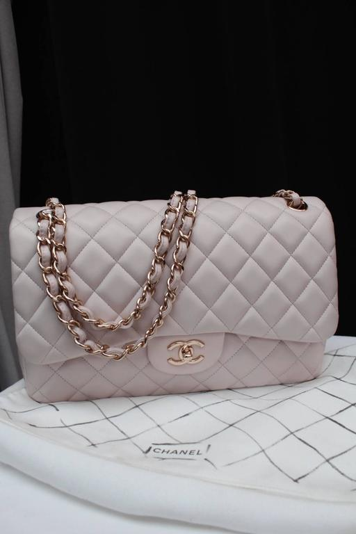 Chanel Light Pink Double Flap Jumbo Handbag with Rose Gold Chain at ... 873a253dcdaa0