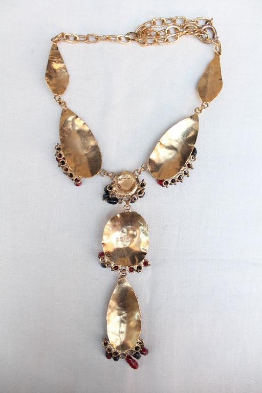 1960s Henry Gilt Metal and Glass Paste Pendant Necklace 6
