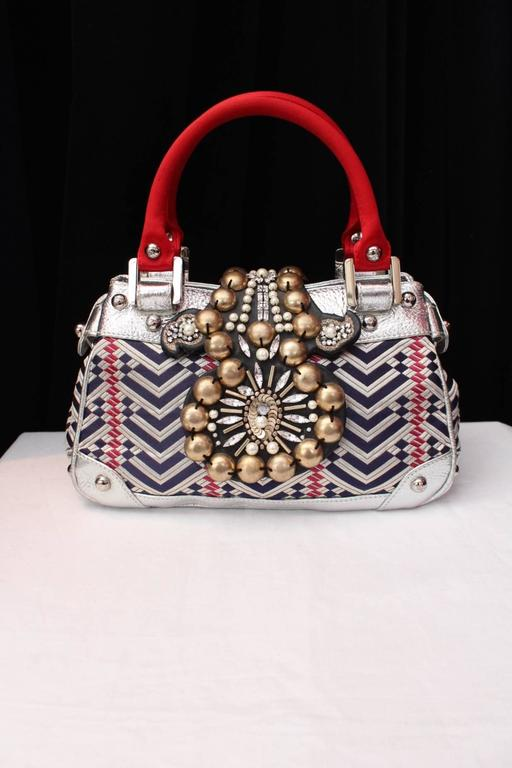 1990 Christian Lacroix Handbag with Silver Leather and Weaving Fabric 3