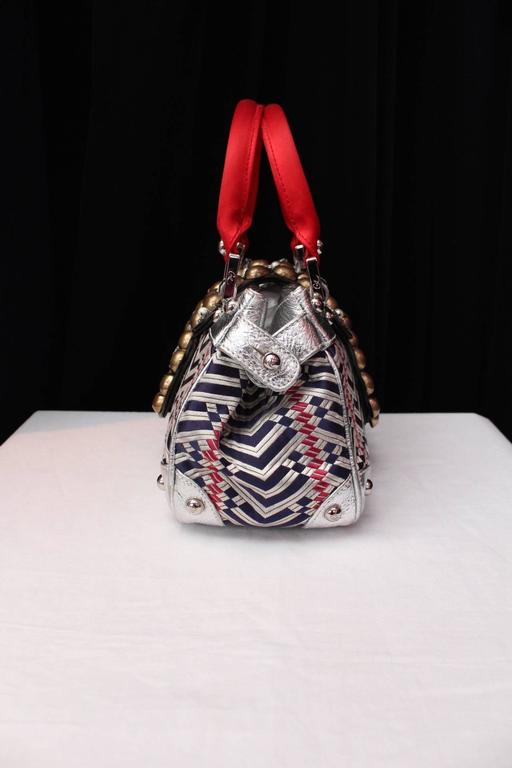 1990 Christian Lacroix Handbag with Silver Leather and Weaving Fabric 2