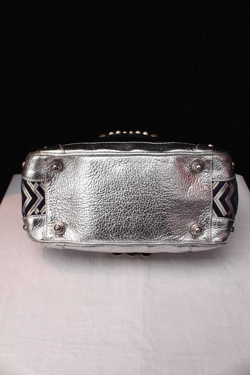 1990 Christian Lacroix Handbag with Silver Leather and Weaving Fabric 4