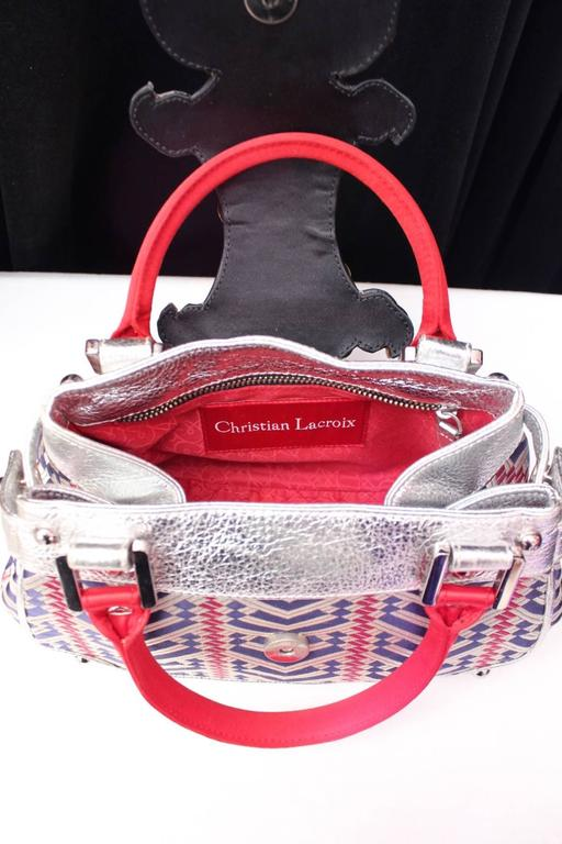 1990 Christian Lacroix Handbag with Silver Leather and Weaving Fabric 6