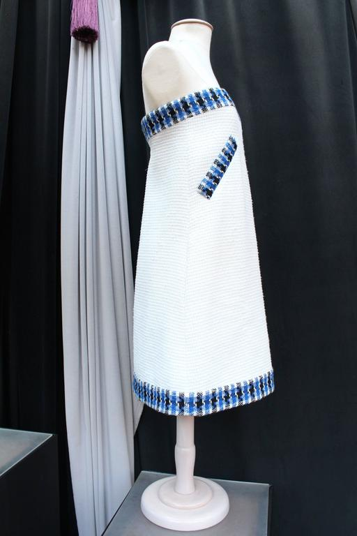 2013 Chanel Strapless Dress in White Blue and Black Cotton For Sale 1