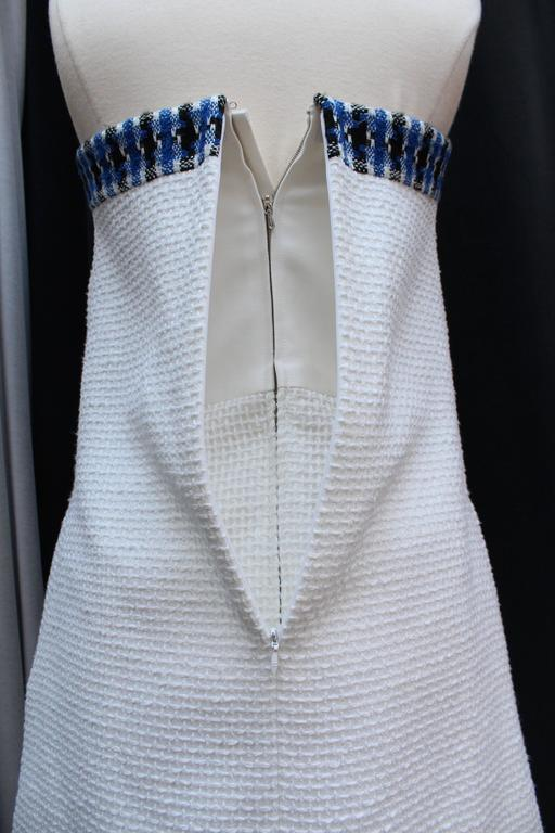 2013 Chanel Strapless Dress in White Blue and Black Cotton For Sale 3