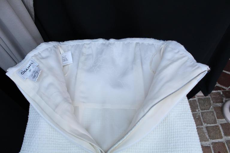 2013 Chanel Strapless Dress in White Blue and Black Cotton For Sale 4