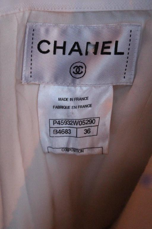 2013 Chanel Strapless Dress in White Blue and Black Cotton For Sale 5