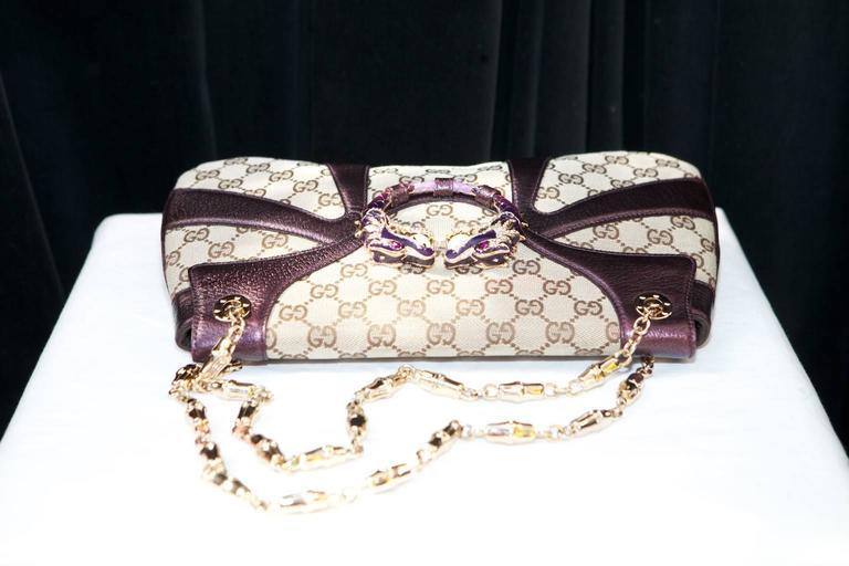 2000s Gucci Dragon Monogram Canvas And Purple Leather