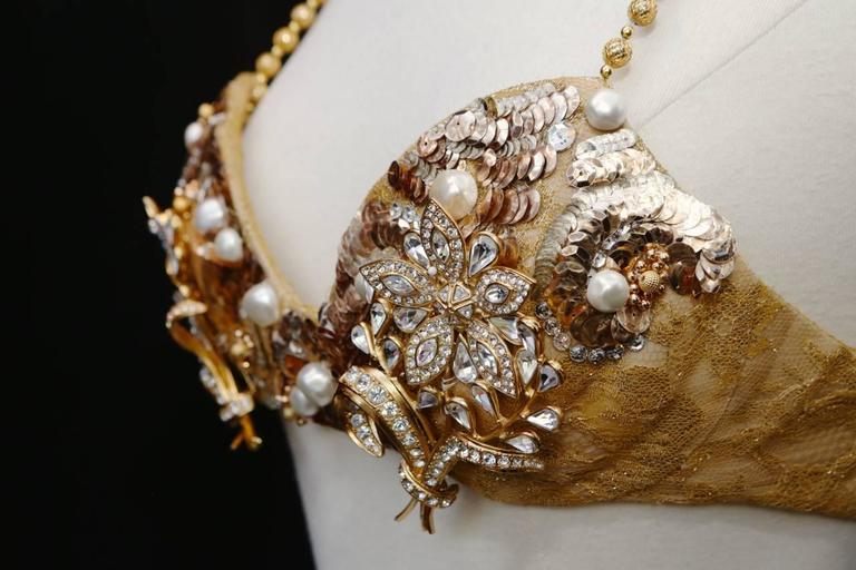 1993 Christian Dior by Ferre Documented Gold-tone Jewellery Bra 7