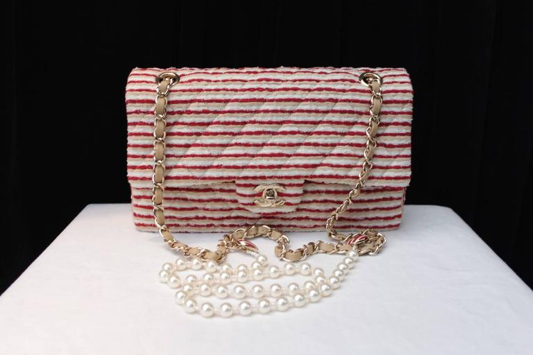 Brown 2014 Chanel Timeless White and Red stripes handbag with Faux Pearls Handle For Sale