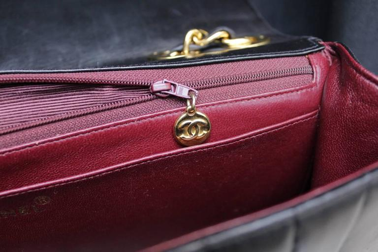 1990s Chanel Black Leather Double Handle Bag For Sale 6