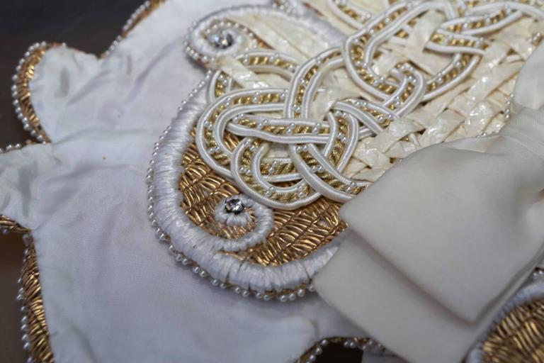 Early 1990s Christian Dior Waistband with Gilt and White Embroideries 6