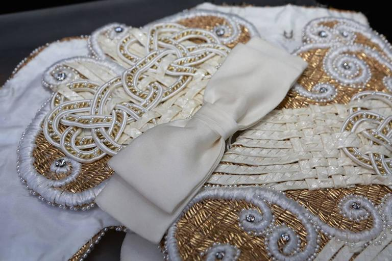 Early 1990s Christian Dior Waistband with Gilt and White Embroideries 8