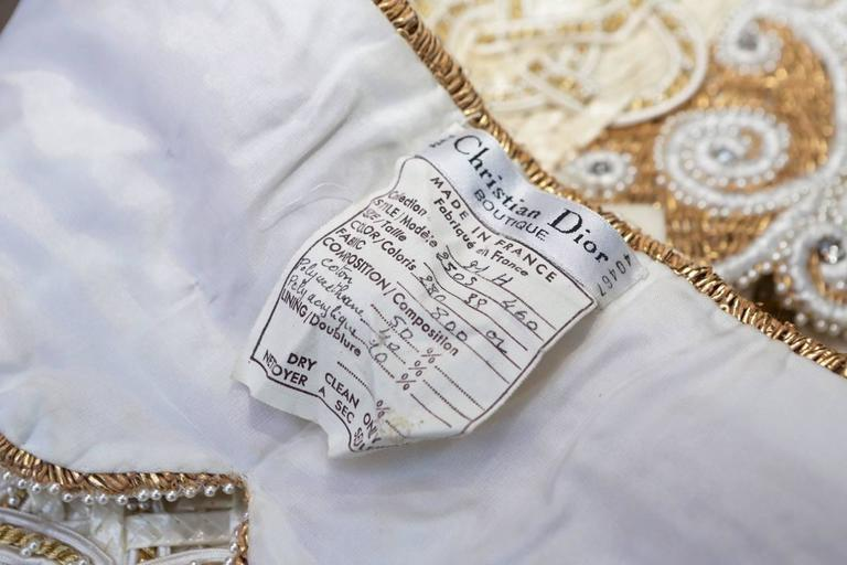 Early 1990s Christian Dior Waistband with Gilt and White Embroideries For Sale 5