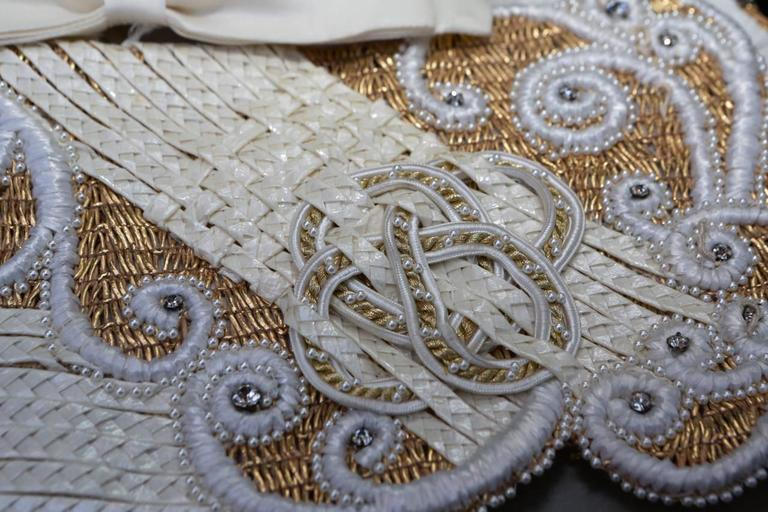 Early 1990s Christian Dior Waistband with Gilt and White Embroideries For Sale 4