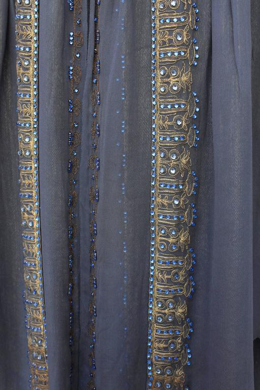 1920s Night Blue and Goldtone Lame Dress For Sale 4