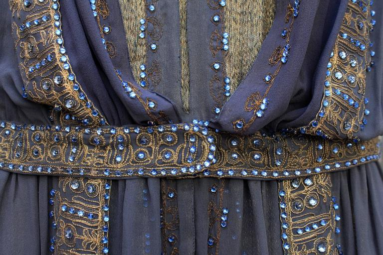 1920s Night Blue and Goldtone Lame Dress For Sale 2