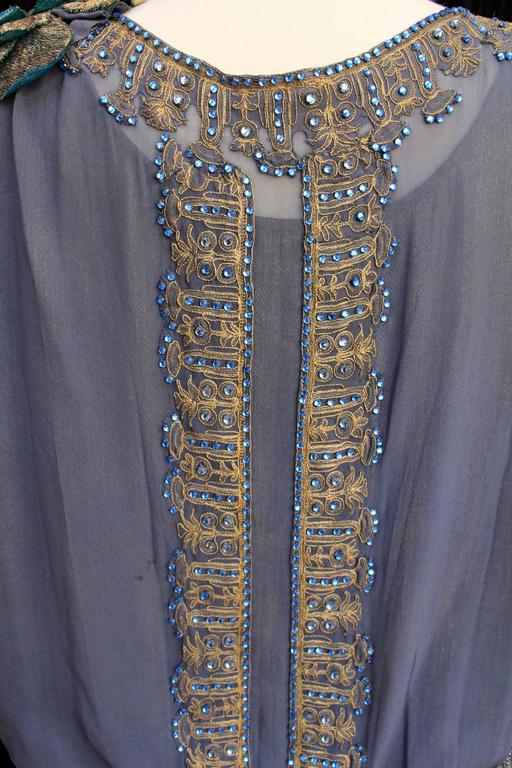 1920s Night Blue and Goldtone Lame Dress For Sale 5