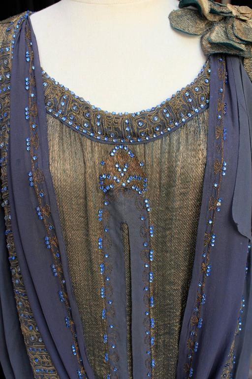 Women's 1920s Night Blue and Goldtone Lame Dress For Sale