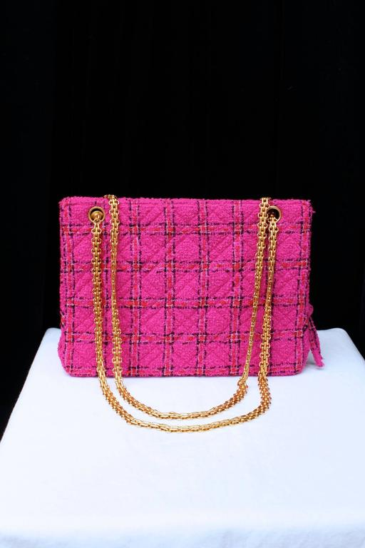 1990s Chanel Pink Tweed Bag and Matching Scarf 3