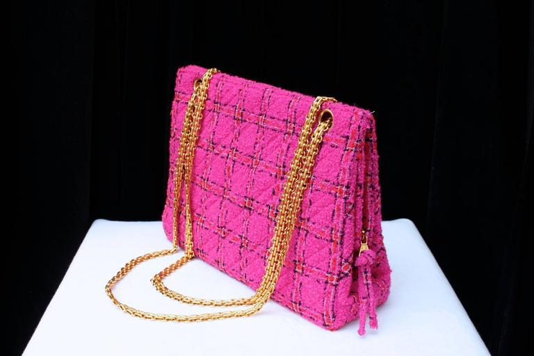 1990s Chanel Pink Tweed Bag and Matching Scarf 5