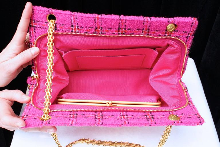 1990s Chanel Pink Tweed Bag and Matching Scarf 8