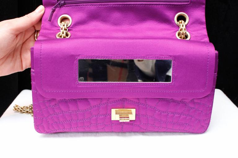 2000s Chanel 2-55 Purple Satin Shoulder Bag with Crocodile Pattern 5