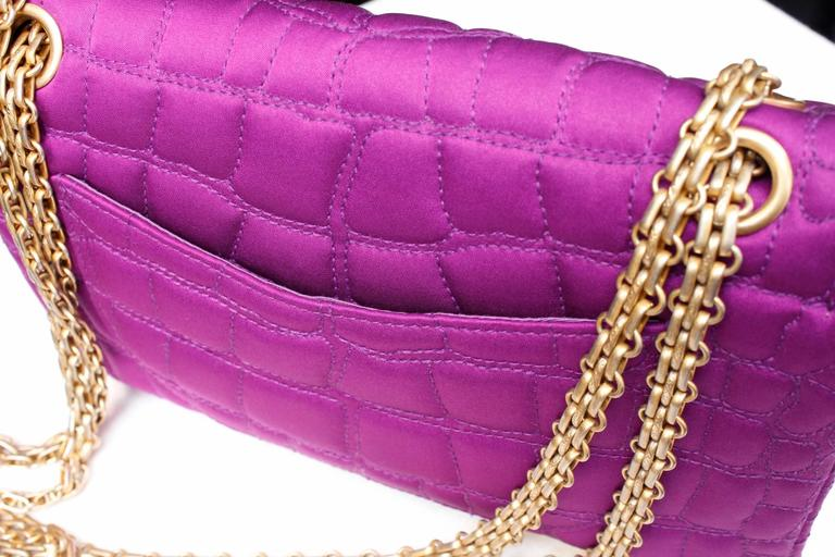 2000s Chanel 2-55 Purple Satin Shoulder Bag with Crocodile Pattern 7