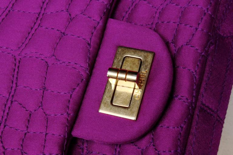 2000s Chanel 2-55 Purple Satin Shoulder Bag with Crocodile Pattern 6
