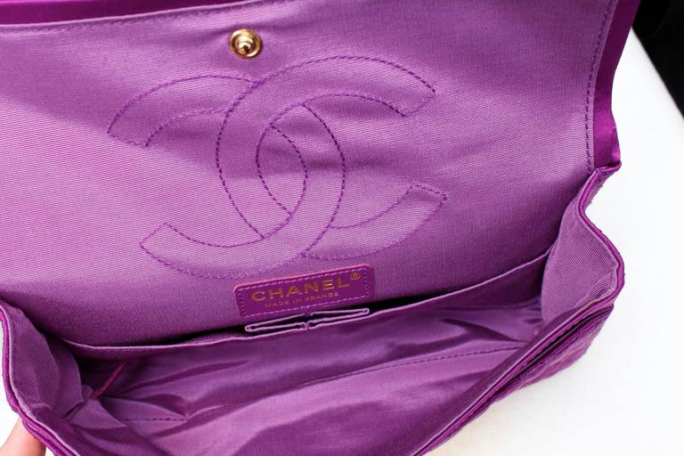 2000s Chanel 2-55 Purple Satin Shoulder Bag with Crocodile Pattern 8