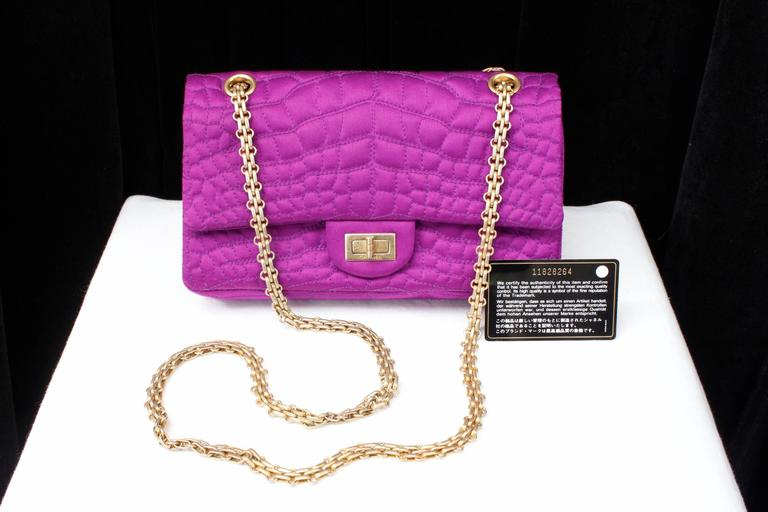 2000s Chanel 2-55 Purple Satin Shoulder Bag with Crocodile Pattern 10
