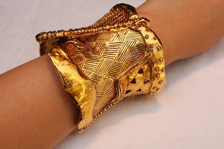 1990s christian lacroix gilded metal cuff bracelet at 1stdibs. Black Bedroom Furniture Sets. Home Design Ideas