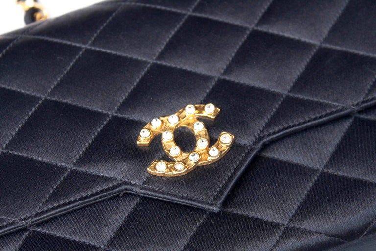 Chanel black satin clutch with golden hardware For Sale 4