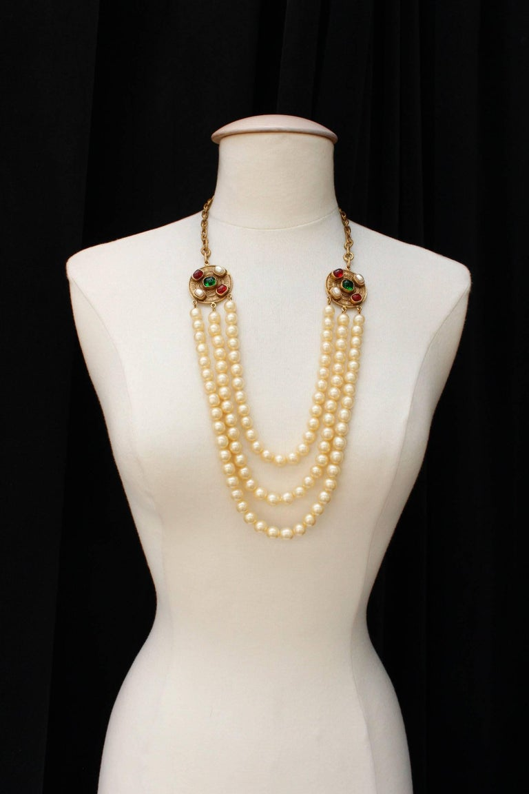1984 Chanel long multi strand pearly necklace  2