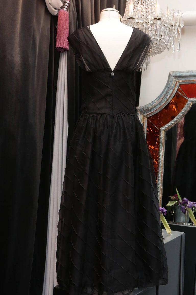 Chanel Long Black Silk Evening Gown Fall 1998  4