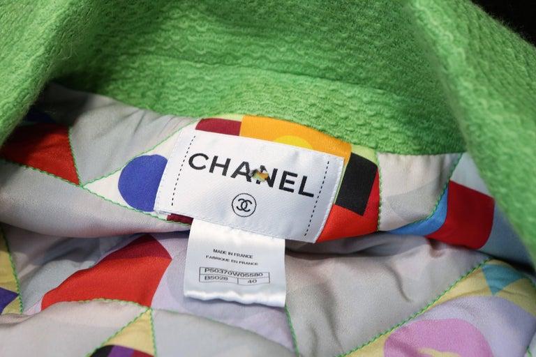 2014-2015 Chanel Oversize Coat in Apple Green Wool For Sale 5