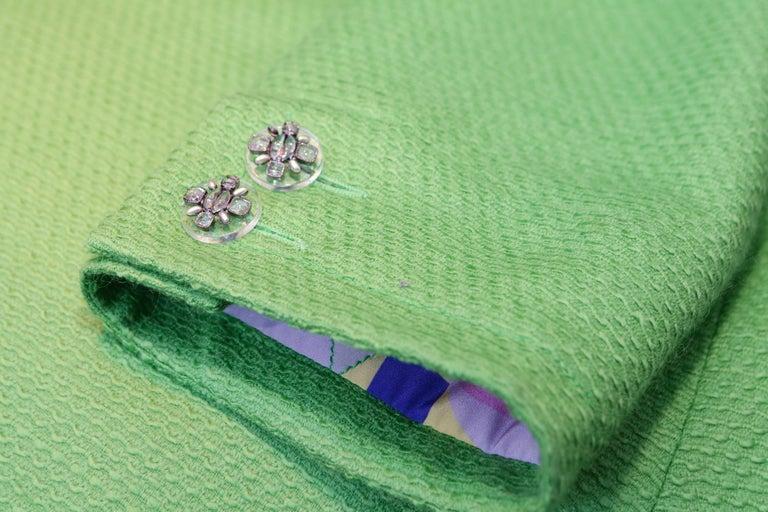 2014-2015 Chanel Oversize Coat in Apple Green Wool For Sale 4