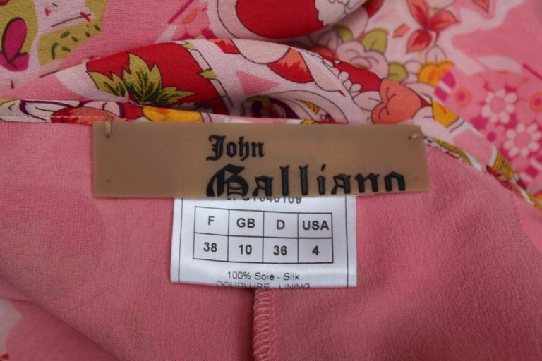 John Galliano gorgeous trench coat and pants set in pink silk with floral print For Sale 9