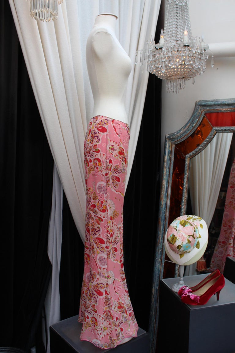 John Galliano gorgeous trench coat and pants set in pink silk with floral print For Sale 6