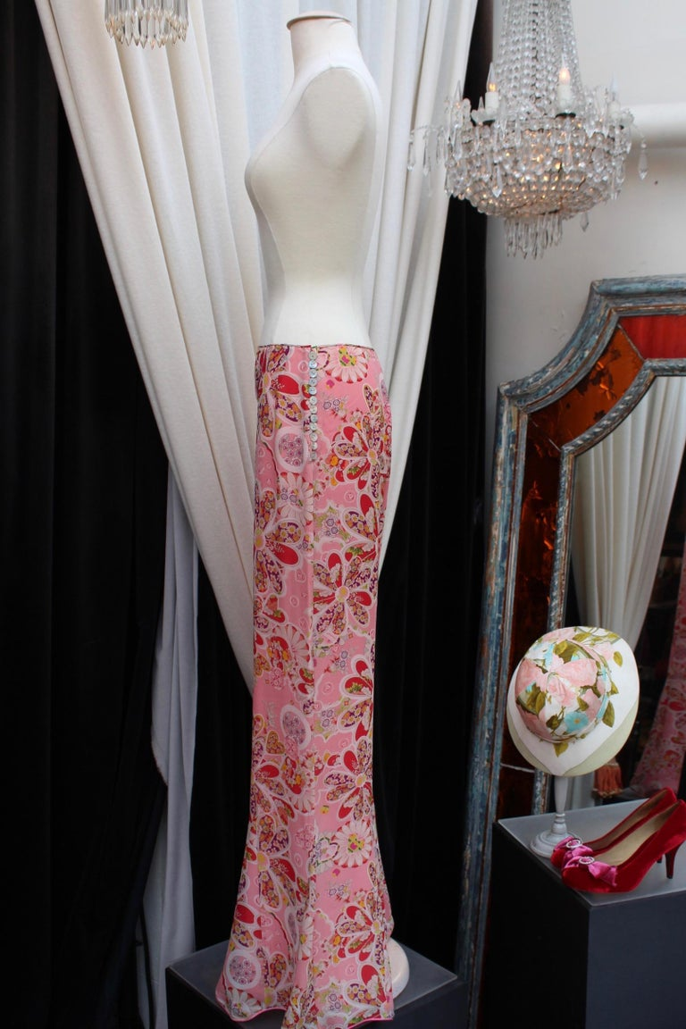 John Galliano gorgeous trench coat and pants set in pink silk with floral print For Sale 4