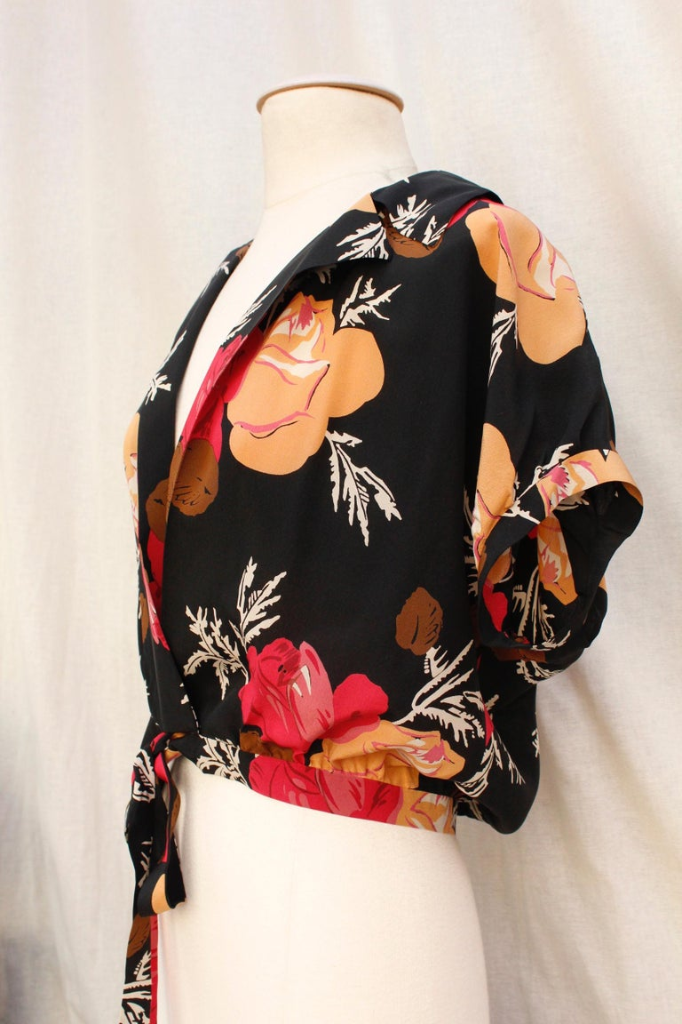Nina Ricci lovely long dress with a summer jacket made of floral silk For Sale 3
