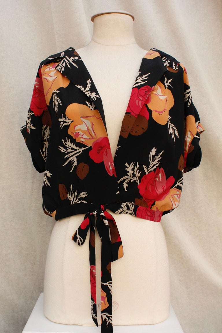Nina Ricci lovely long dress with a summer jacket made of floral silk For Sale 2