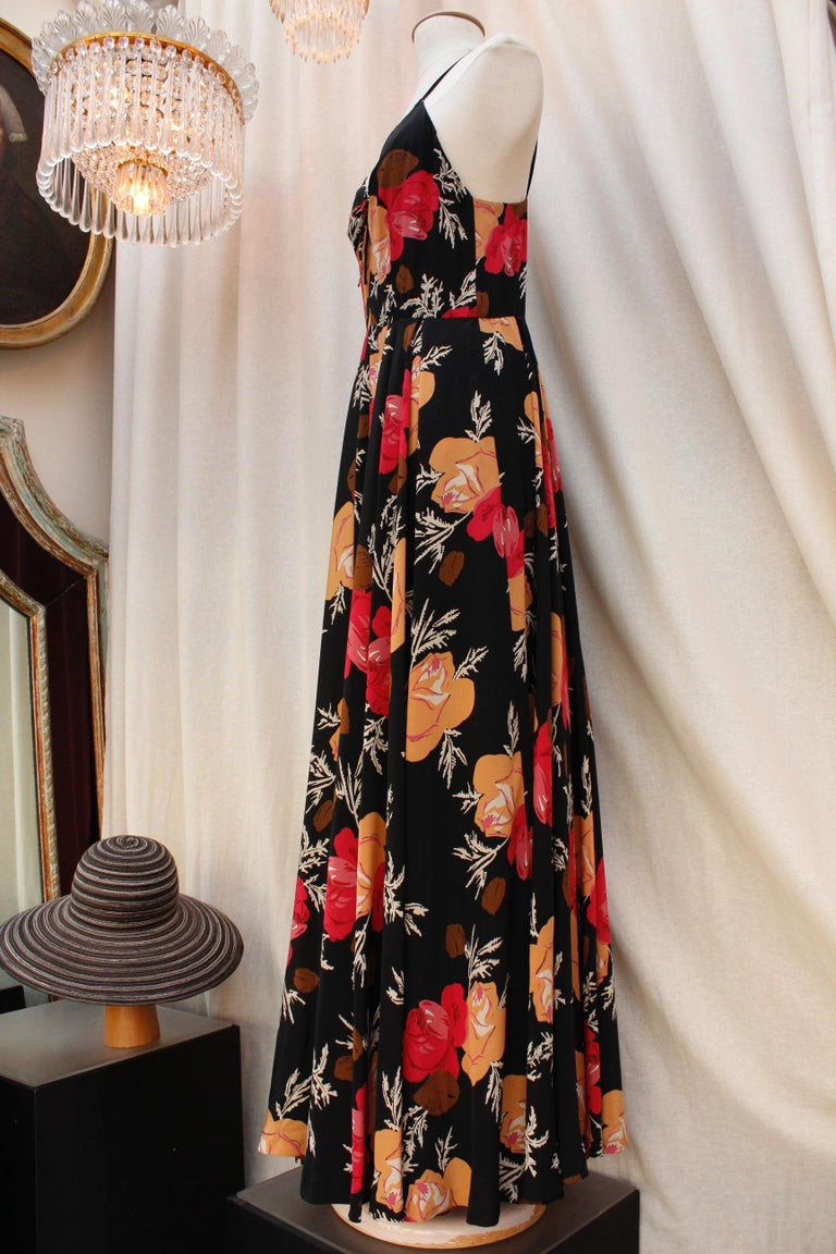 Nina Ricci lovely long dress with a summer jacket made of floral silk For Sale 1