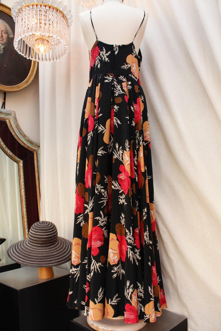 Women's Nina Ricci lovely long dress with a summer jacket made of floral silk For Sale