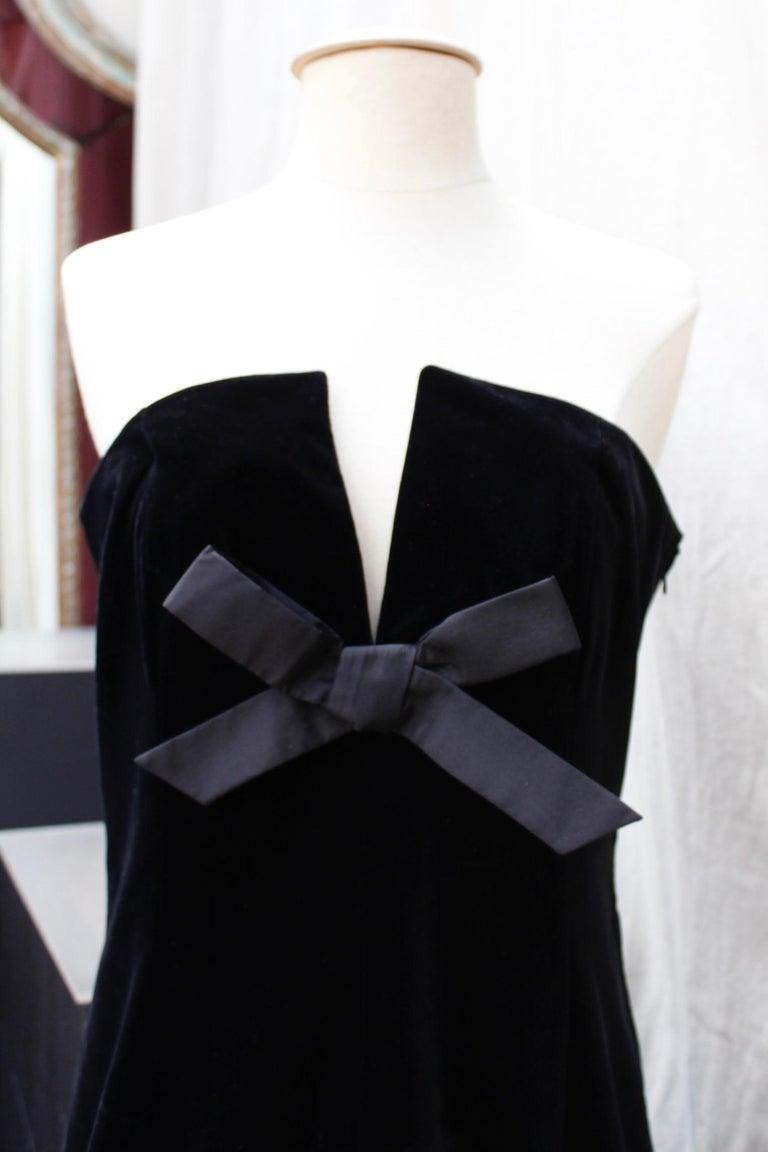 Women's Saint Laurent Rive Gauche stunning black and fuchsia dress For Sale
