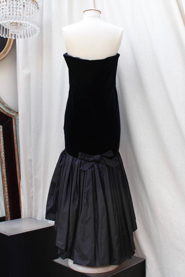 Black Saint Laurent Rive Gauche stunning black and fuchsia dress For Sale